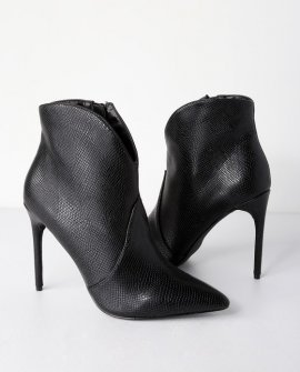 Vianney Black Croc Embossed High Heel Ankle Booties