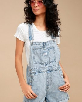 Vintage Shortall Light Wash Denim Overalls