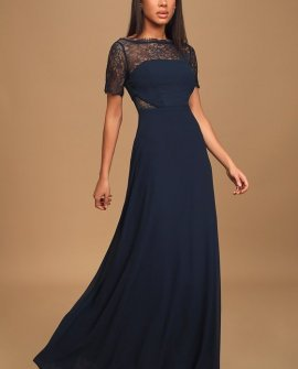 Waiting For Love Navy Lace Maxi Dress