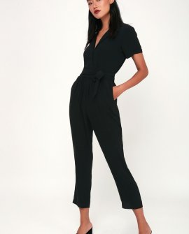 Walk With You Black Short Sleeve Jumpsuit