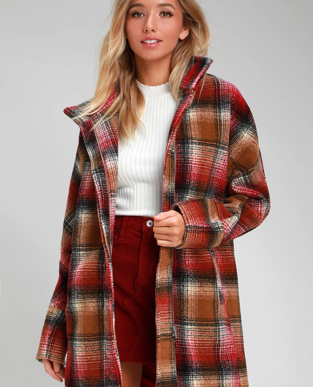 Walk in the Woods Burgundy and Brown Plaid Coat