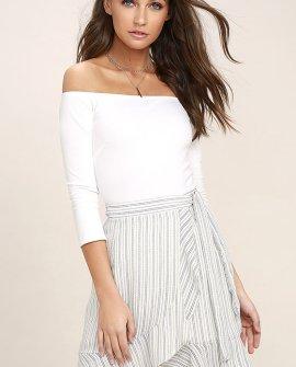 Walk on Air Blue and White Striped Wrap Mini Skirt