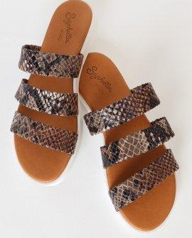 Walking On Air Cognac Exotic Snake Flatform Slide Sandals