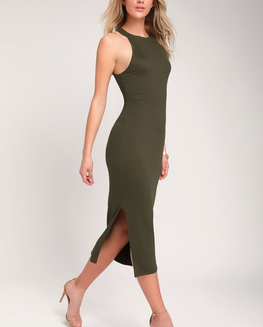 Want It All Olive Green Ribbed Bodycon Midi Dress