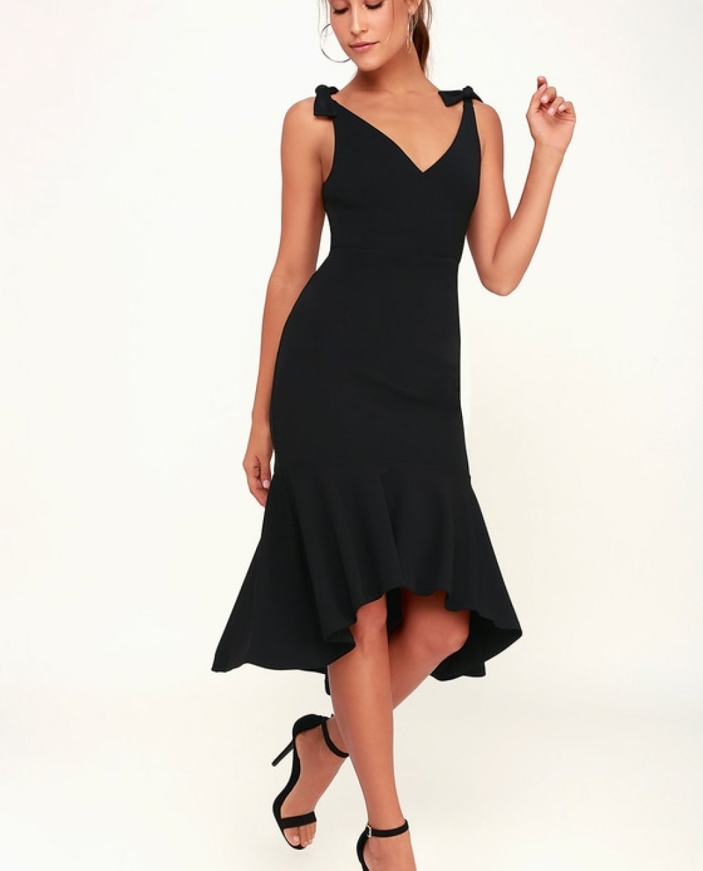 Want You to Want Me Black Trumpet Hem Bodycon Midi Dress