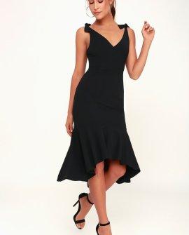 Want You to Want Me Black Trumpet Hem Bodycon Midi Dress