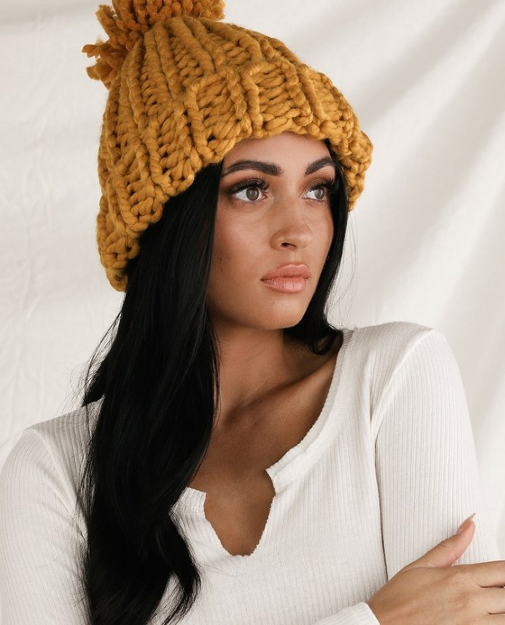 Warm Feelings Mustard Yellow Chunky Knit Pom Pom Beanie