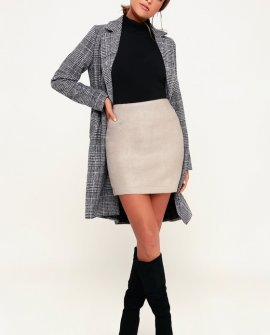 Warner Beige Fuzzy Mini Skirt