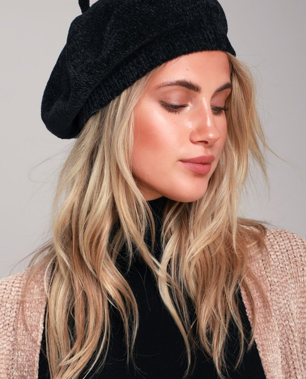 Waterford Black Chenille Beret