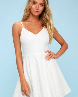 Way With Words White Lace Skater Dress