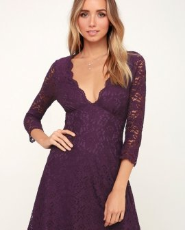 We Will Dance Purple Three-Quarter Sleeve Lace Dress
