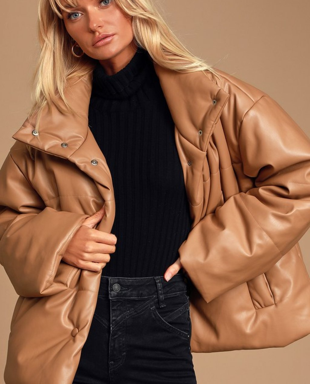 Weather or Not Taupe Vegan Leather Puffer Jacket