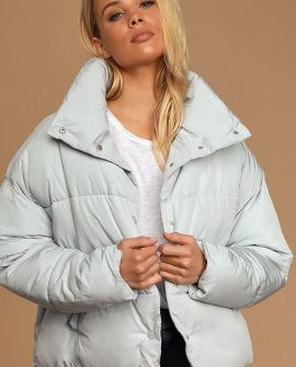 Weekender Mint Blue Quilted Puffer Jacket