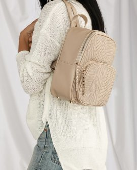 Weldon Beige Lizard Mini Backpack