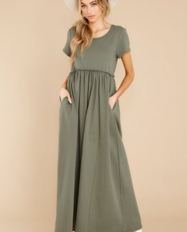 Well Wishes Olive Green Maxi Dress