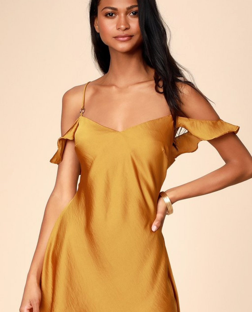 What I Want Golden Yellow Satin Off-the-Shoulder Slip Dress
