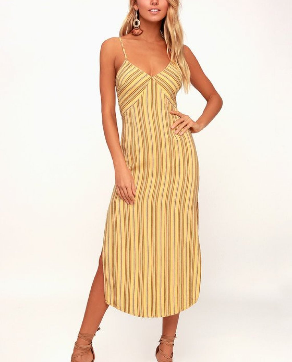 White Sands Yellow Striped Tie-Back Midi Dress