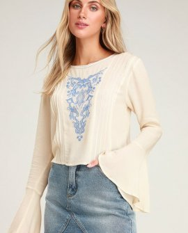 Whitney Cream Embroidered Bell Sleeve Top