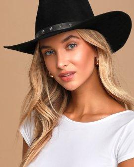 Wild, Styled West Black Suede Fedora Hat