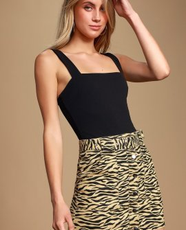 Wild-Hearted Beige Tiger Print Belted Button Front Denim Skirt