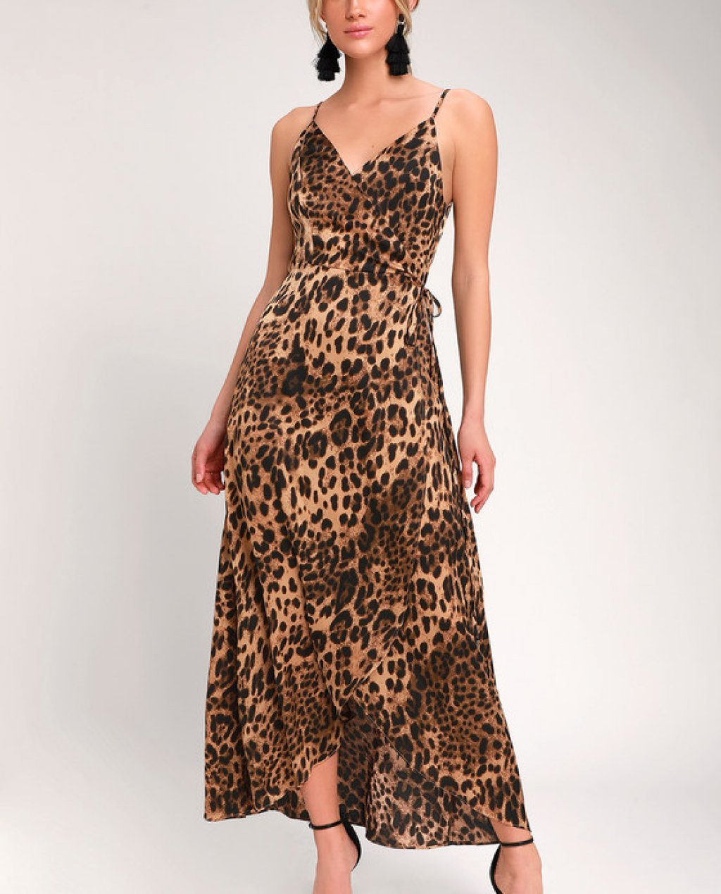 Wildly Wonderful Leopard Print Satin Maxi Wrap Dress