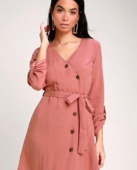 Willah Rusty Rose Button-Up Wrap Dress