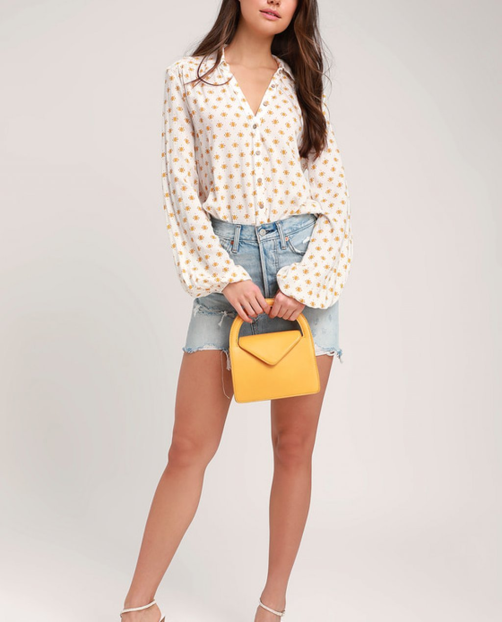 Willow Yellow Print Long Sleeve Button-Up Bodysuit