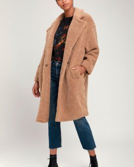 Winnie Light Brown Faux Fur Oversized Coat