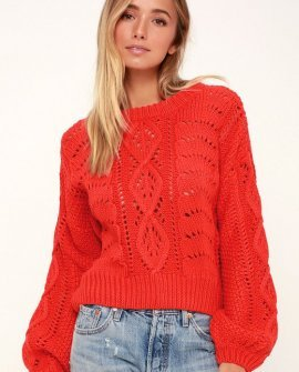 Winona Coral Red Balloon Sleeve Cable Knit Sweater