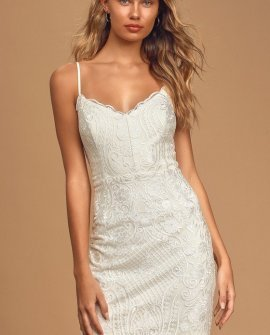 With Me Always Ivory Lace Sleeveless Bodycon Mini Dress
