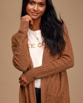 Words of Love Light Brown Cable Knit Long Cardigan Sweater