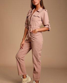 Work it Mauve Pink Boiler Jumpsuit