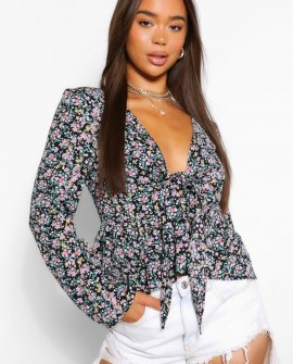 Woven ditsy tie front blouse