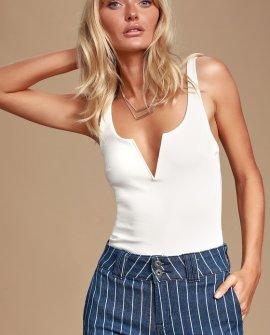 XOXO White Sleeveless Bodysuit
