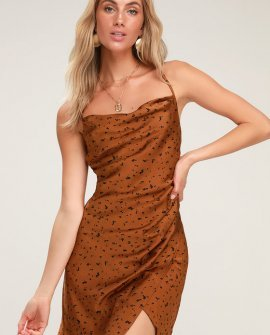 Yasmina Copper Dot Print Satin Cowl Neck Slip Dress