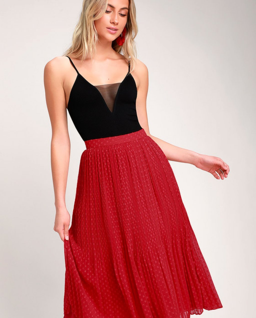 Youre On My Mind Red Pleated Swiss Dot Midi Skirt