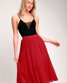 You're On My Mind Red Pleated Swiss Dot Midi Skirt