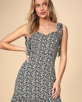 Zaharia Black and White Floral Print Mini Dress