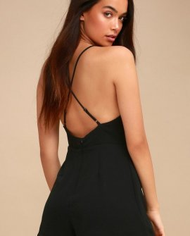 Zaheera Black Backless Romper