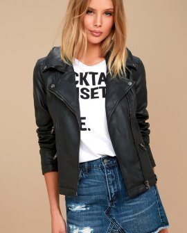 Zelia Black Vegan Leather Moto Jacket