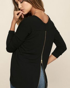 Zip to My Lou Black Sweater Top