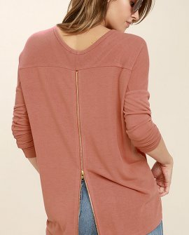 Zip to My Lou Rusty Rose Sweater Top
