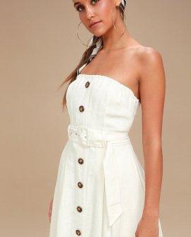 Zoie White Straplesss Belted Midi Dress
