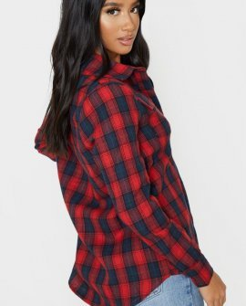 Petite Red Oversized Checked Boyfriend Shirt