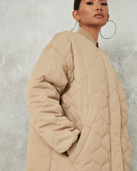 tall sand quilted longline bomber jacket