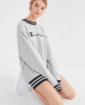 Champion Oversized Sporty Striped Crew Neck Sweatshirt