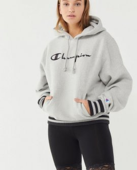 Champion Oversized Sporty Striped Hoodie Sweatshirt