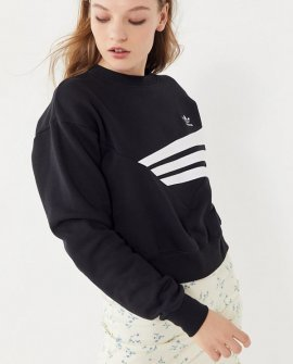 adidas Geometric 3-Stripe Cropped Sweatshirt