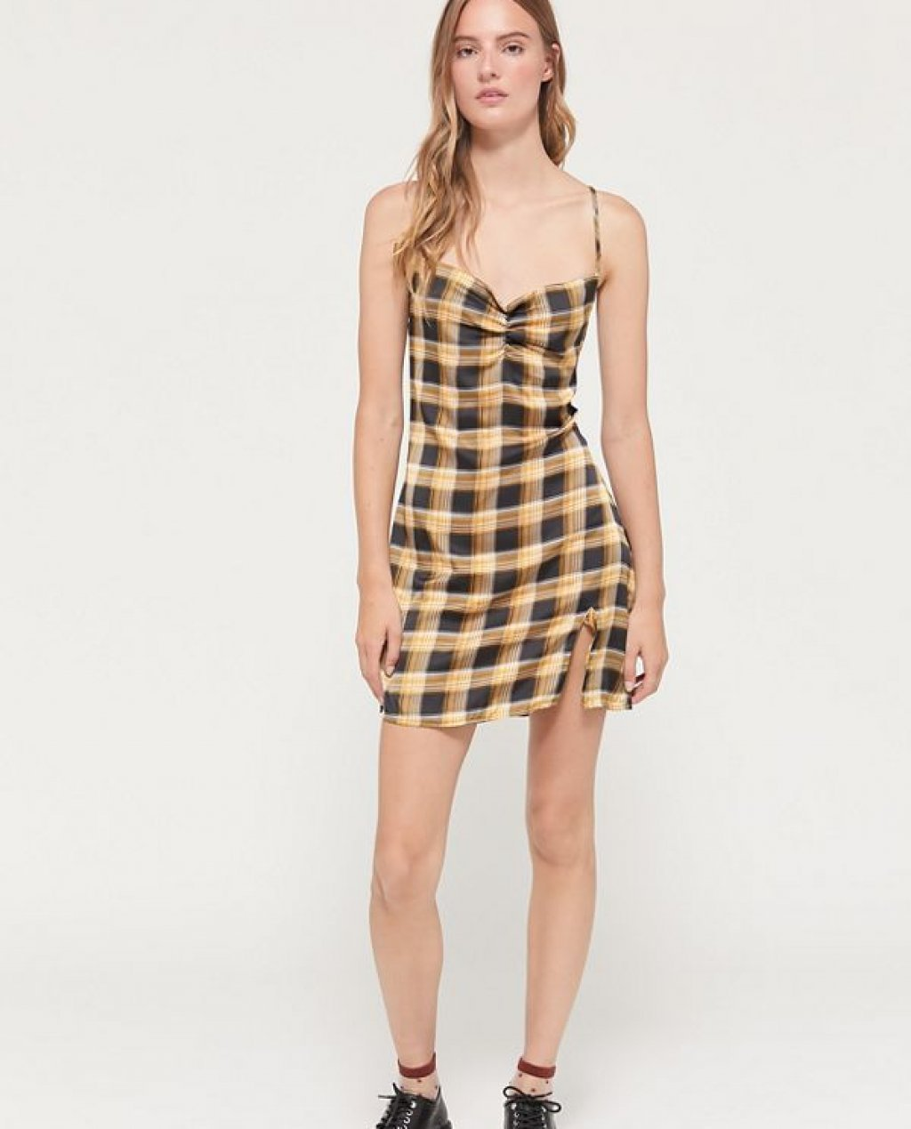 Lioness Suncity Plaid Mini Slip Dress