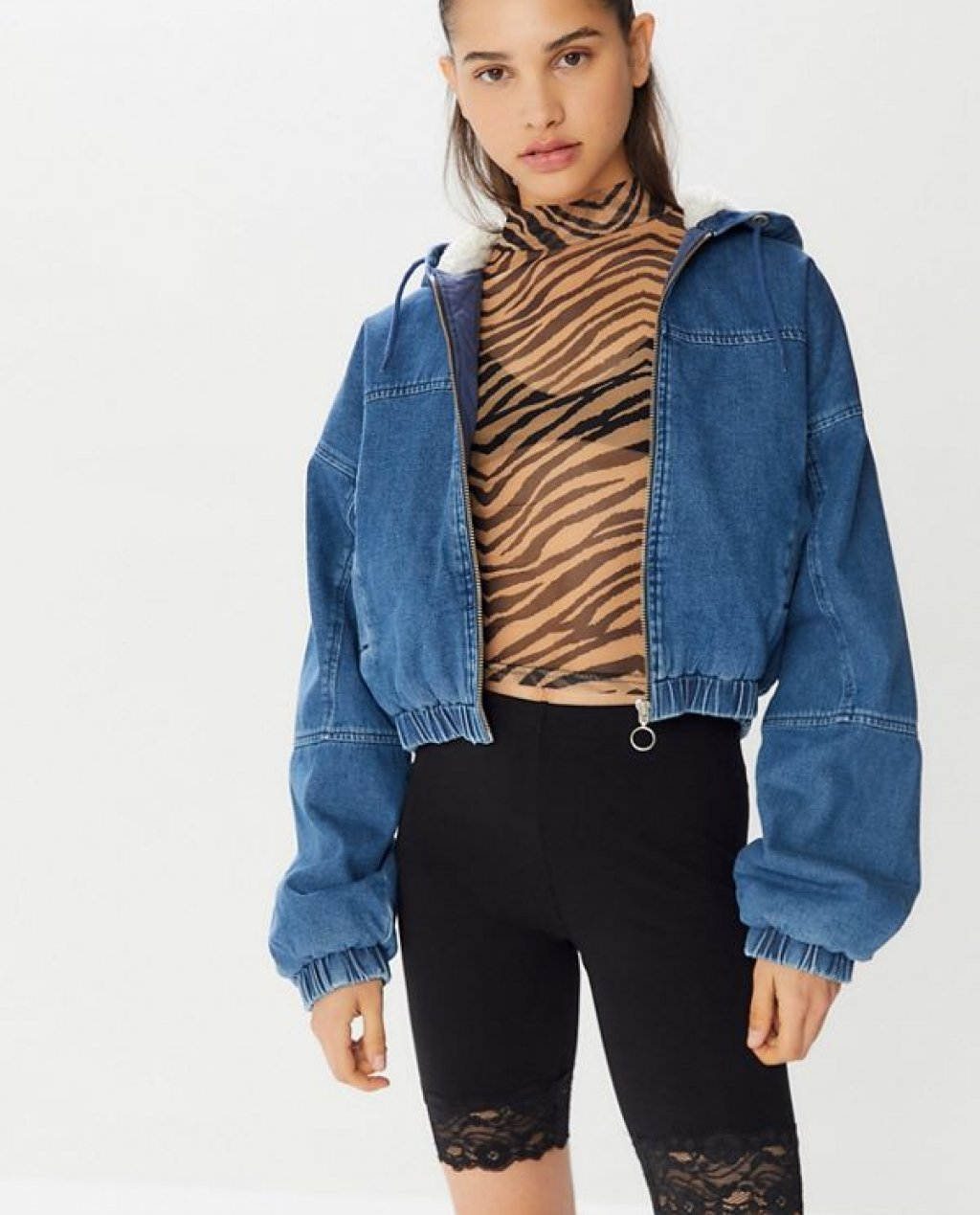BDG Denim Sherpa Zip-Front Cropped Jacket